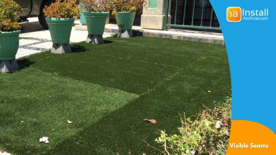 visible seams defect in cheap front yard artificial grass installation project