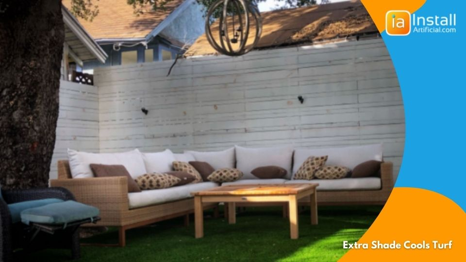 extra shade cools artificial turf install in backyards