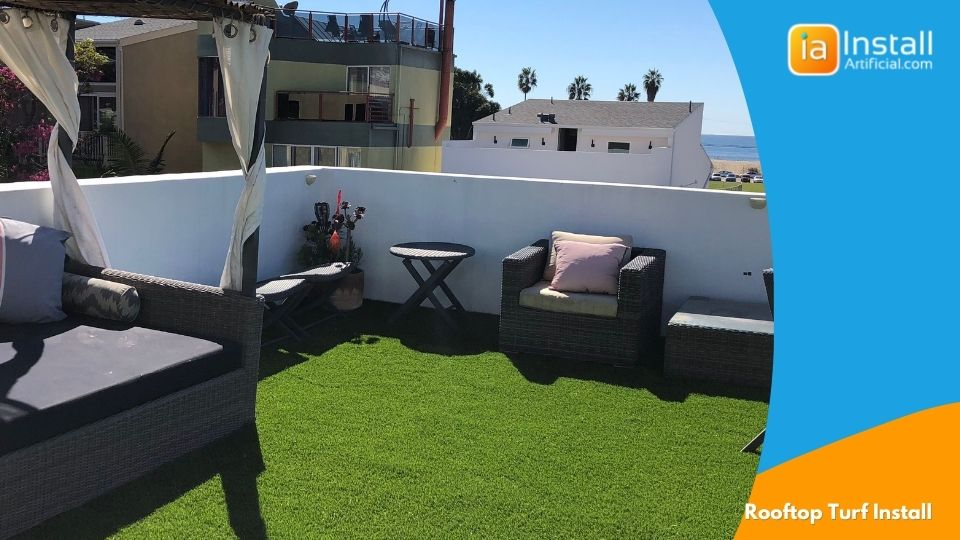 rooftop artificial turf installation project