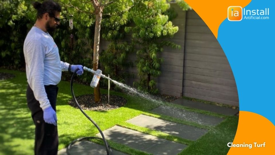 cleaning artificial turf after lawn installation