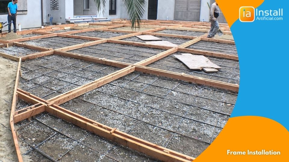 frame installation for nail-free rooftop artificial grass installation project