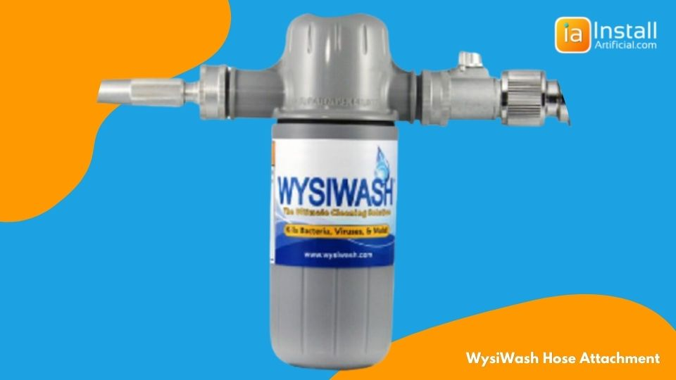 wysiwash hose attachment for cleaning artificial pet turf installations in backyards
