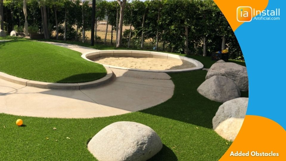 added obstacles artificial turf putting green installation