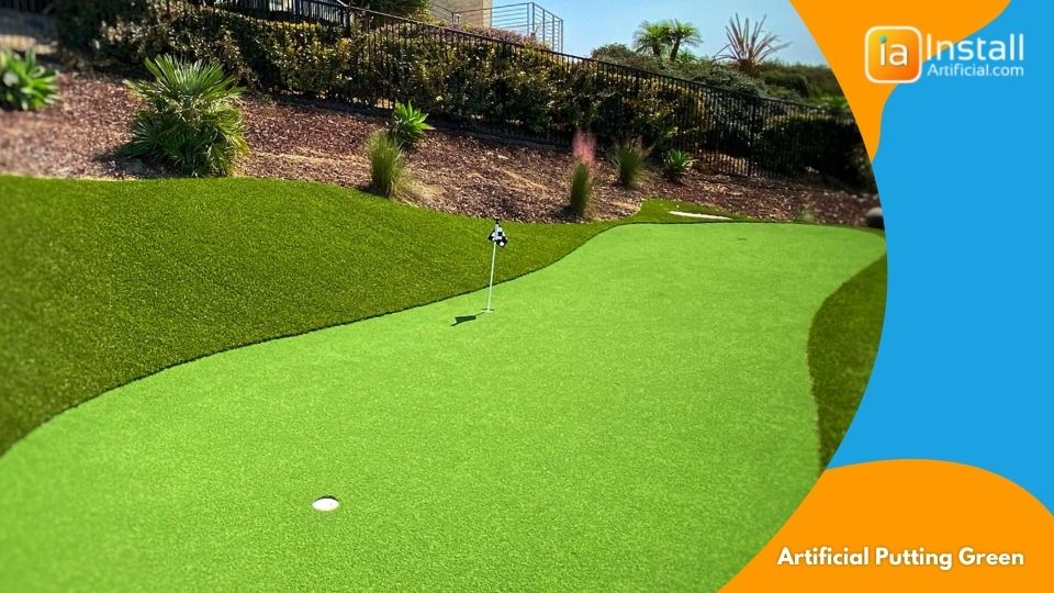 artificial putting green installation for practicing golfers