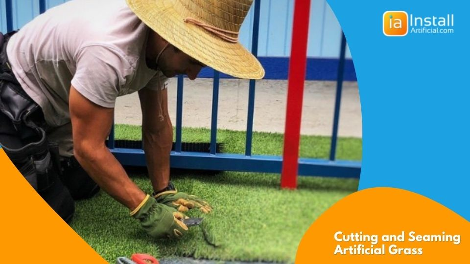 artificial grass installation cutting and seaming