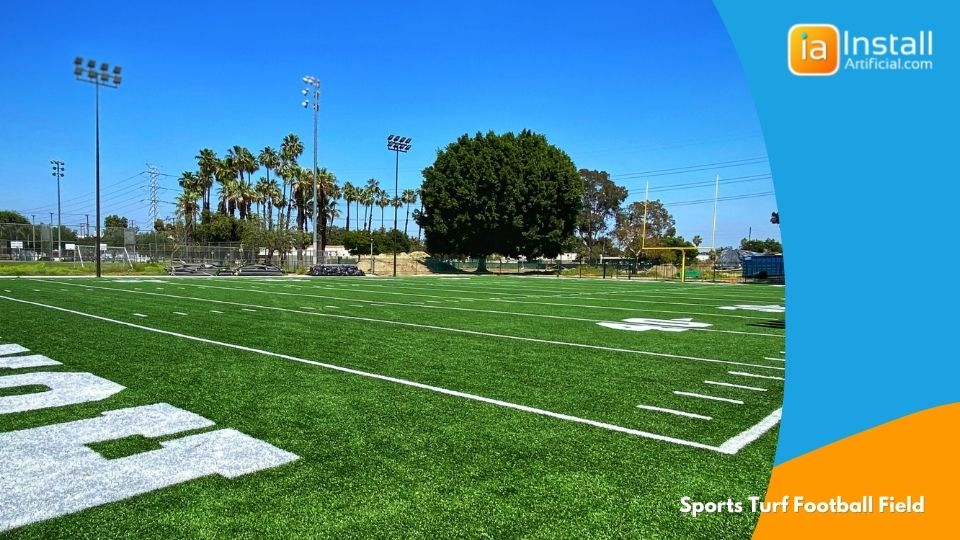 green plush artificial sports turf football field for athletes to train on