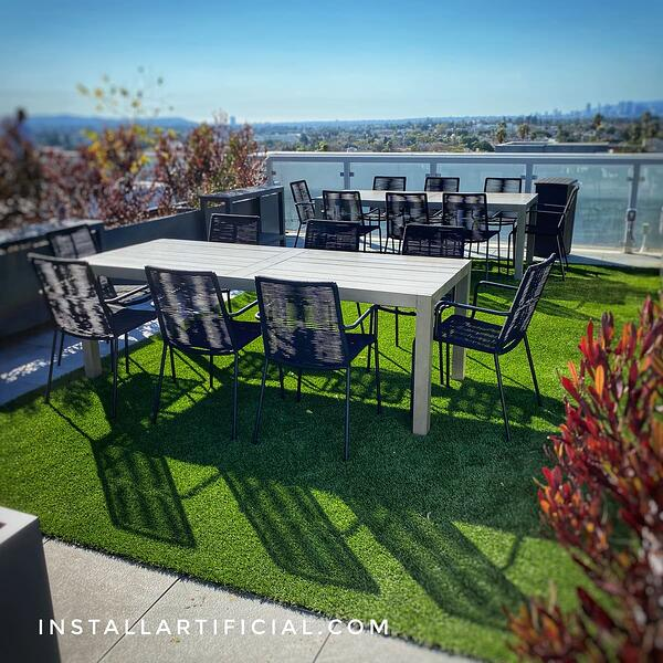 Livable space with artificial turf at condominium