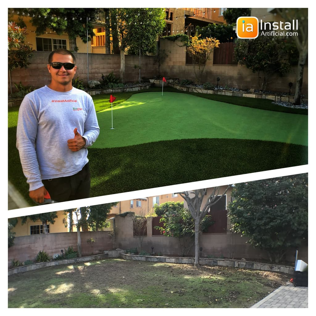 Pavers, artificial turf, putting green