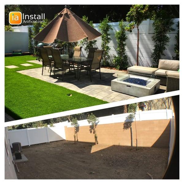 Pavers, patio, fireplace, artificial turf