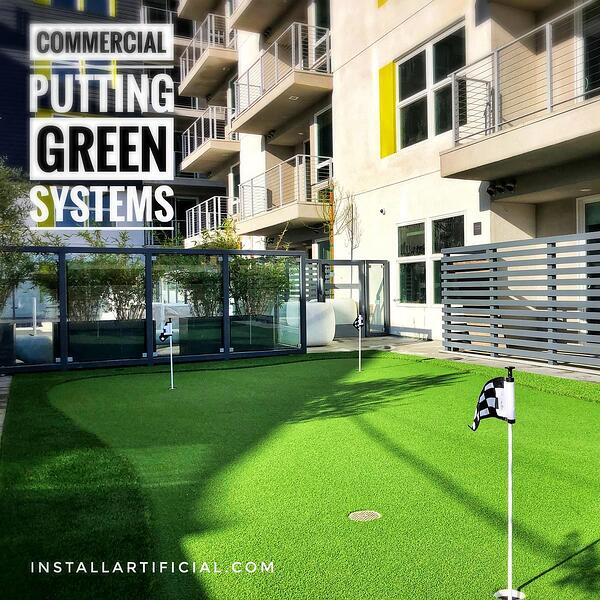 Putting green installed over concrete surface at condominium