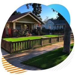 front backyard artificial grass installation