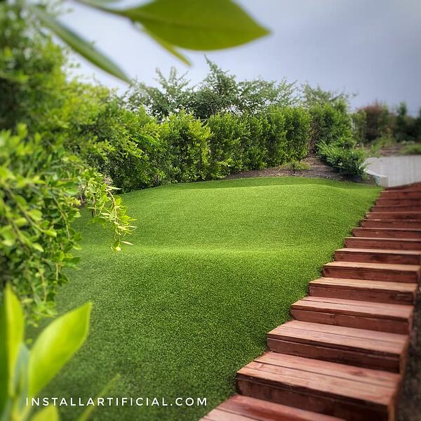artificial grass installation on slopes