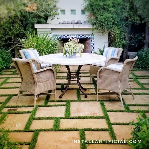 backyard patios stripes artificial grass