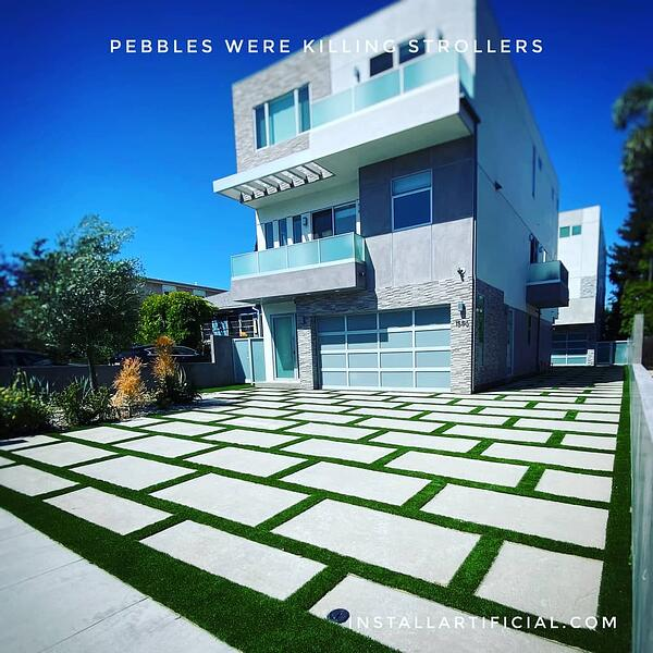 artificial turf installed between concrete slabs modern home-1
