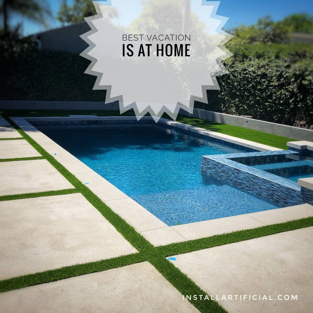 artificial turf stripes around a pool