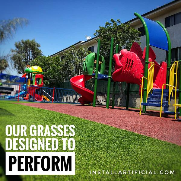 Daycare playground with synthetic turf