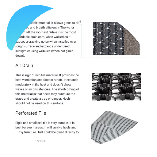 selection of drain cores for rooftops and balconies