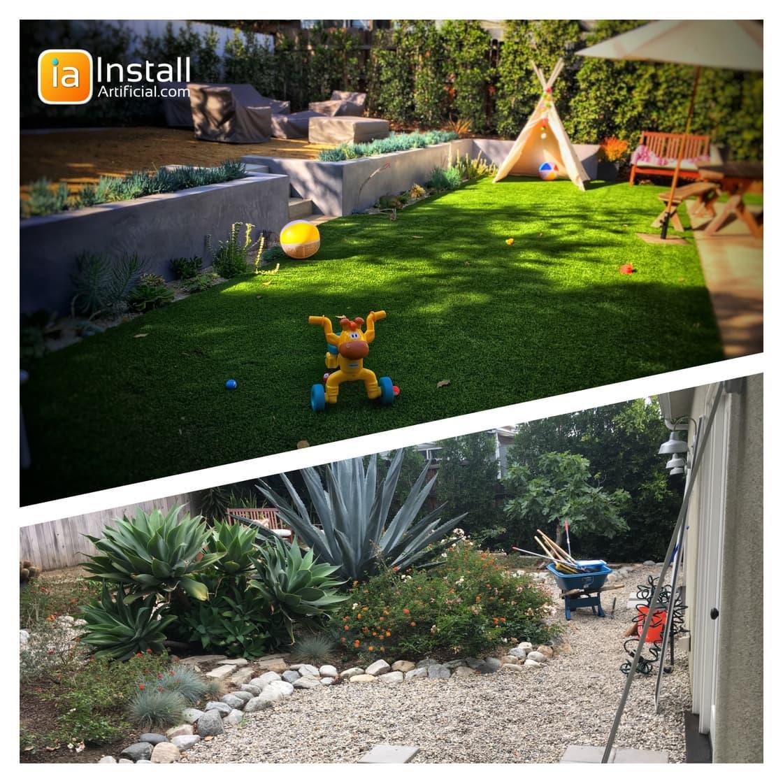 Retaining wall, fireplace, drainage, artificial turf