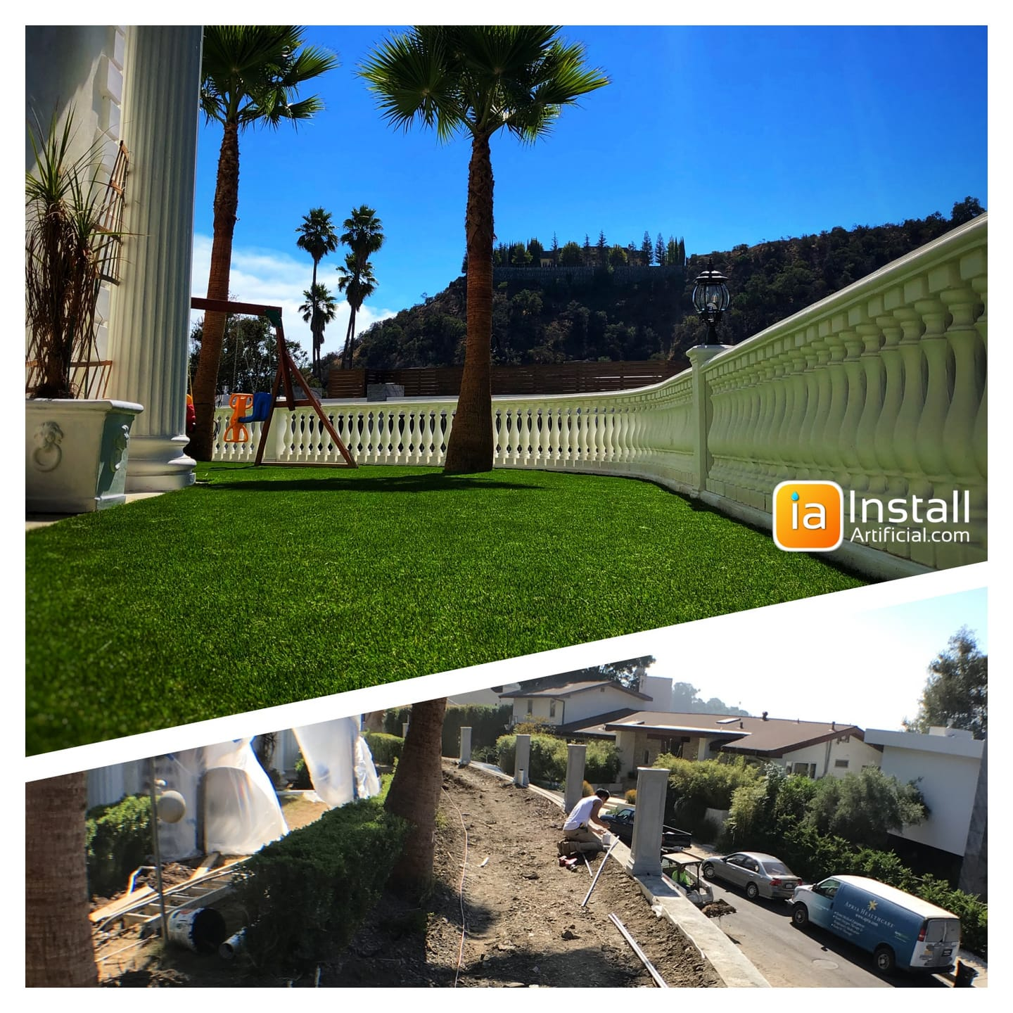 front yard renovation with artificial grass and retaining wall