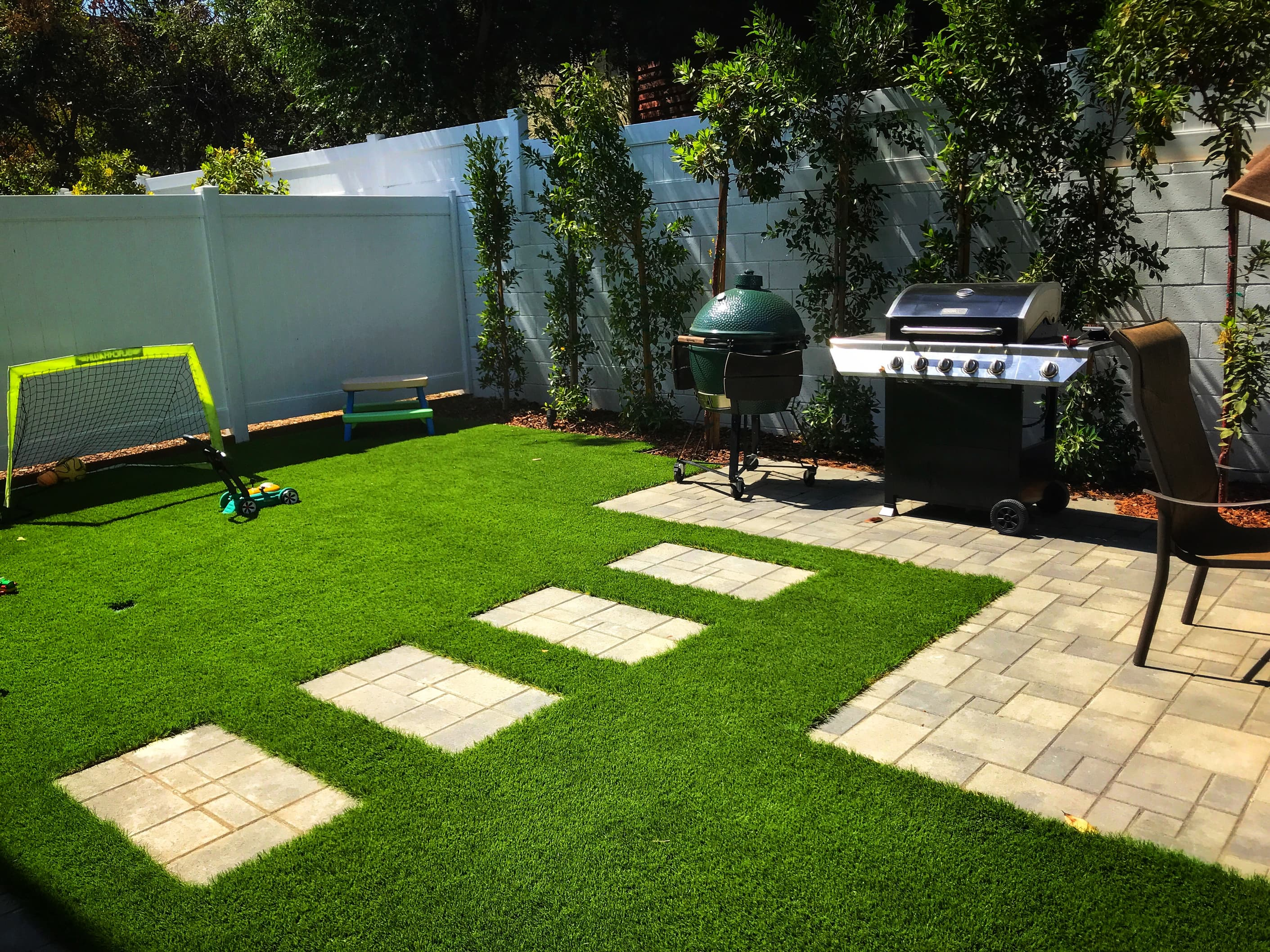 gas line, pavers, turf and lighting