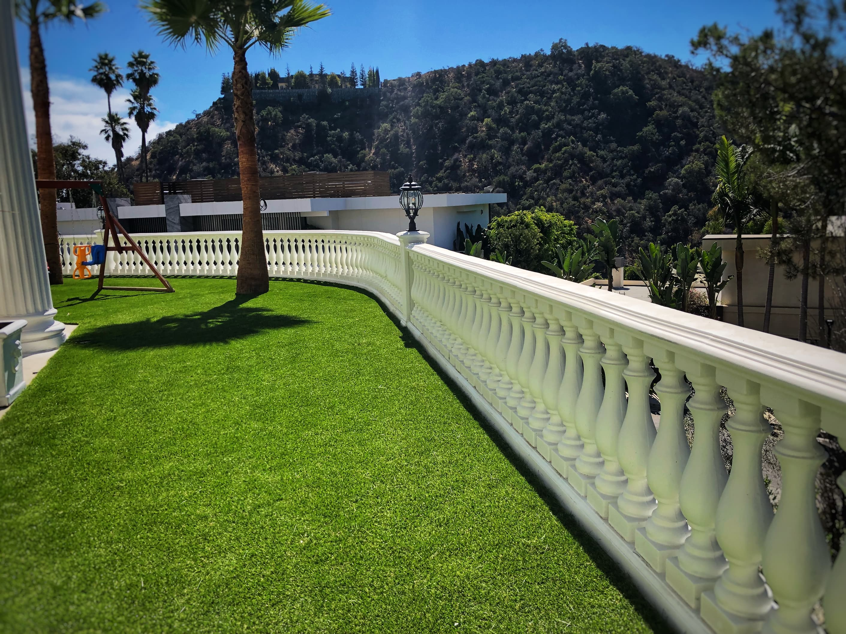 retaining wall and artificial grass