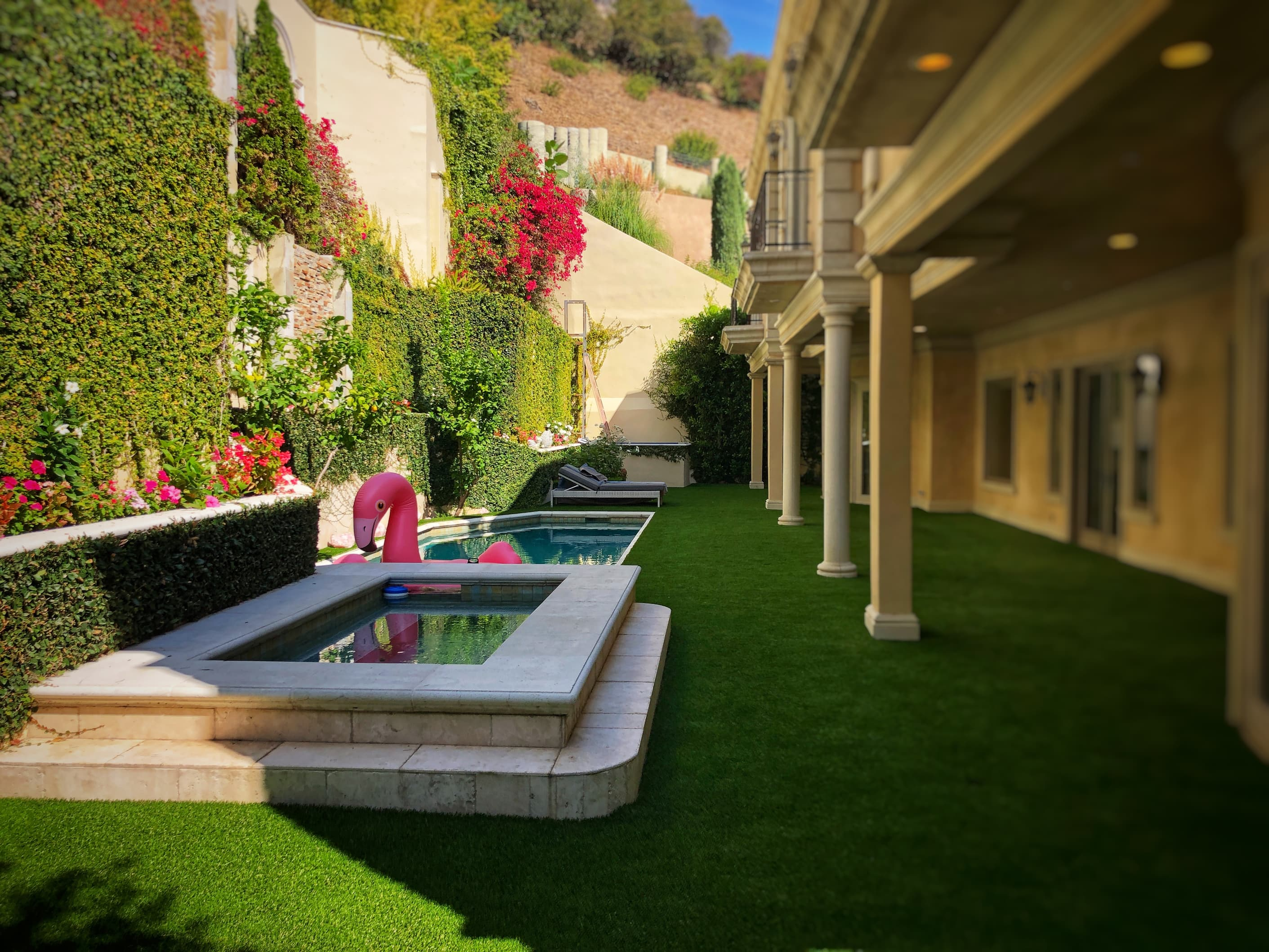 turf over concrete patio