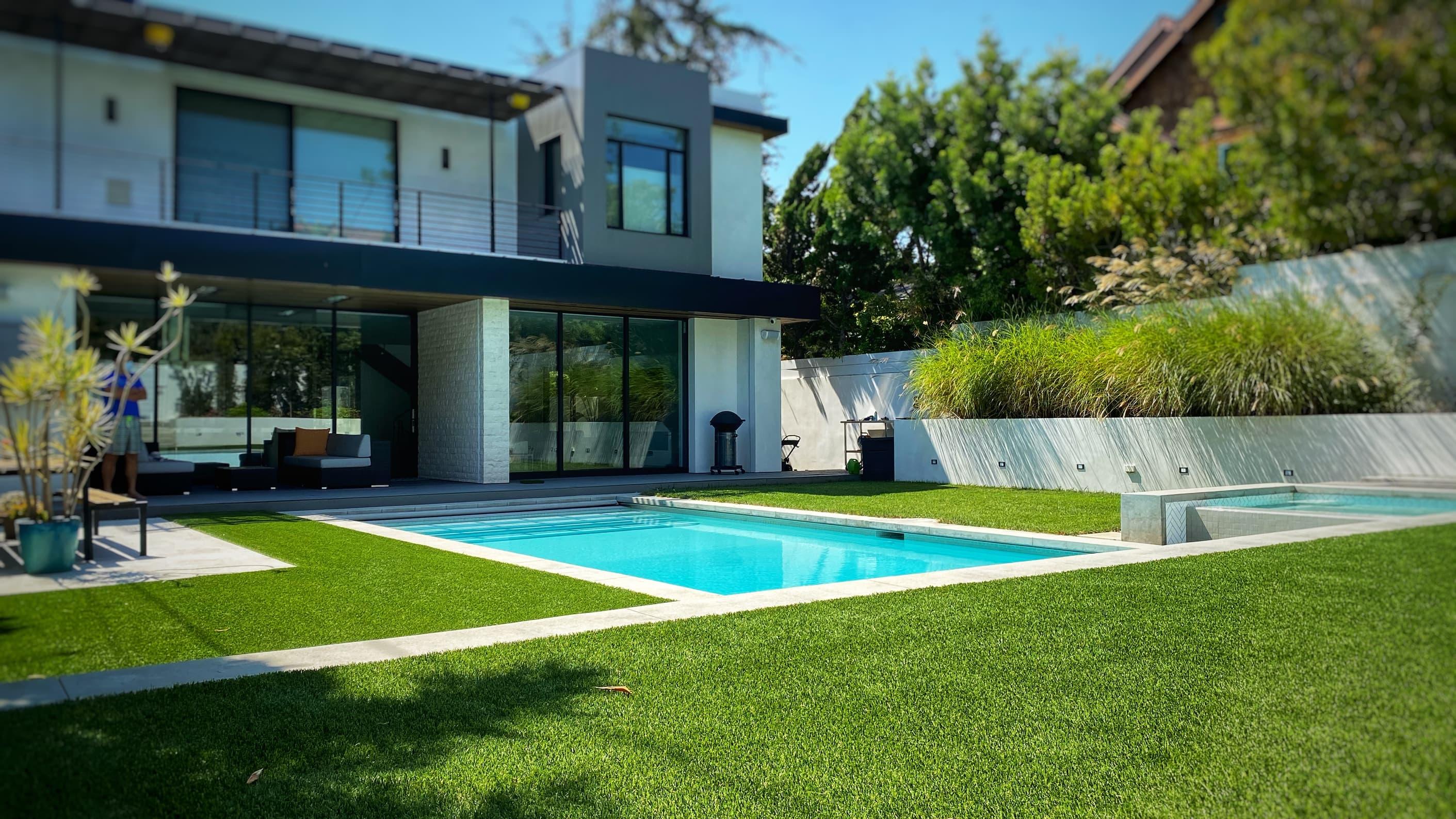 artificial grass for backyards around pool