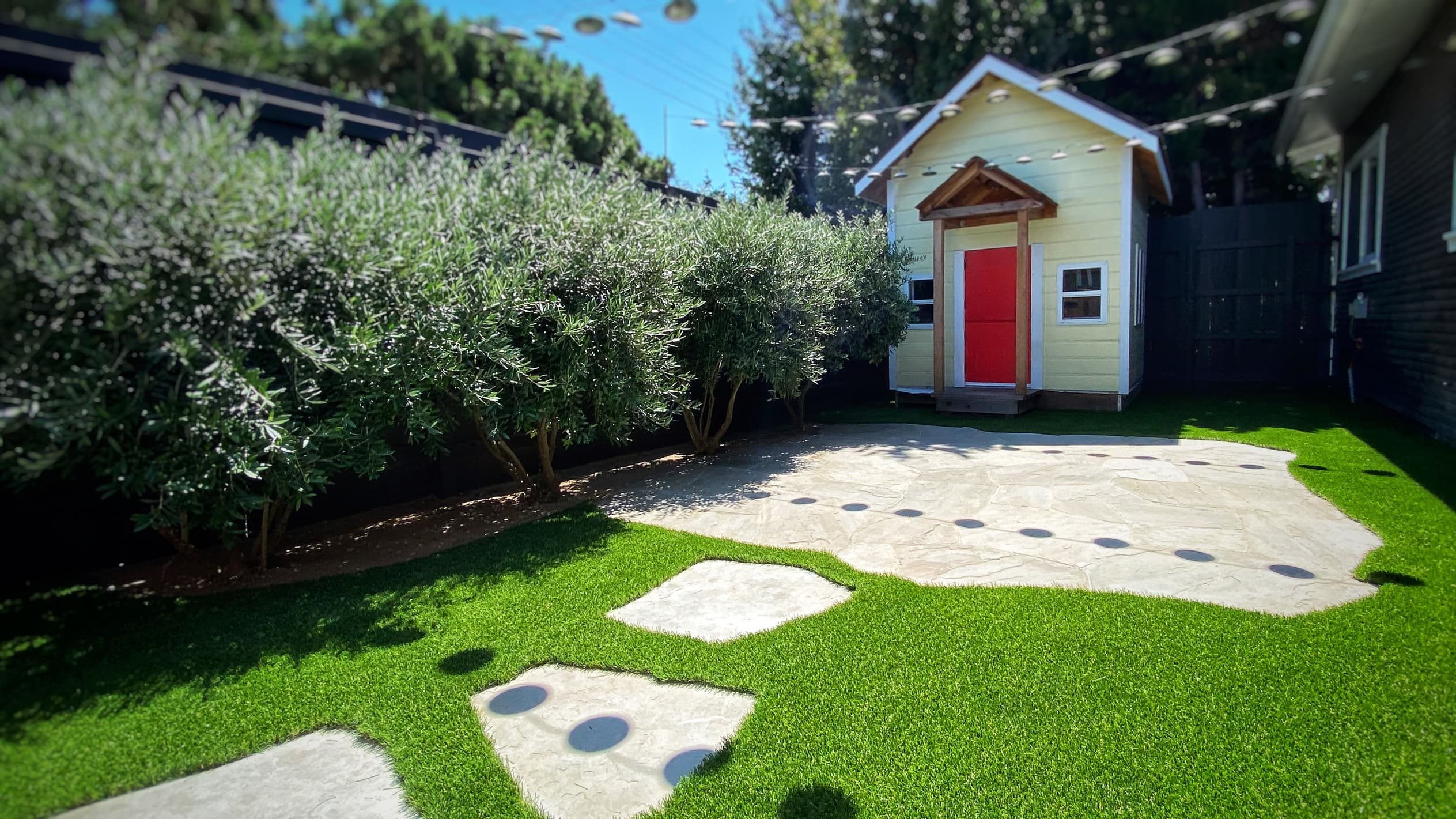 backyard artificial grass installation residential