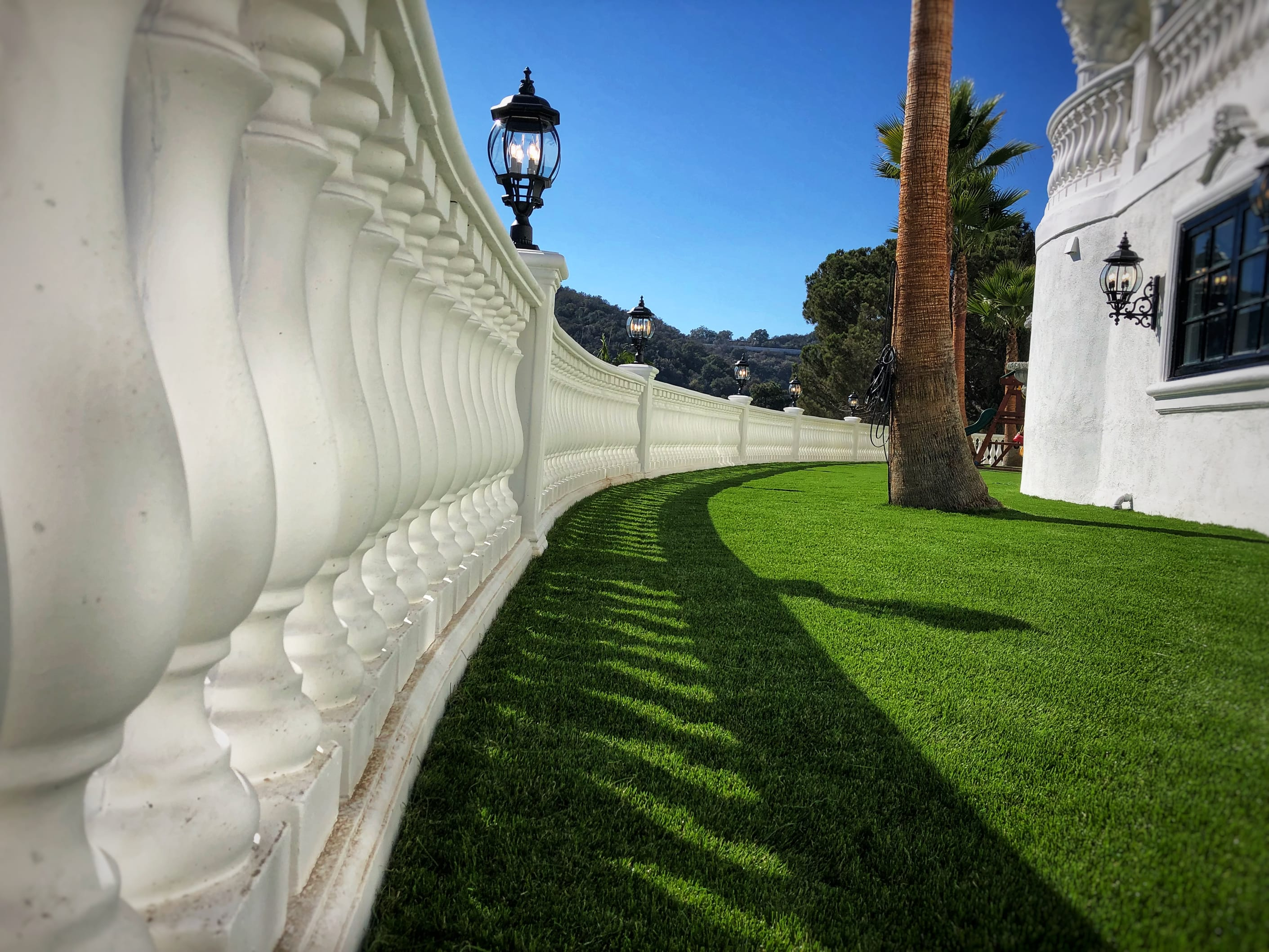 beautiful columns separating turf area