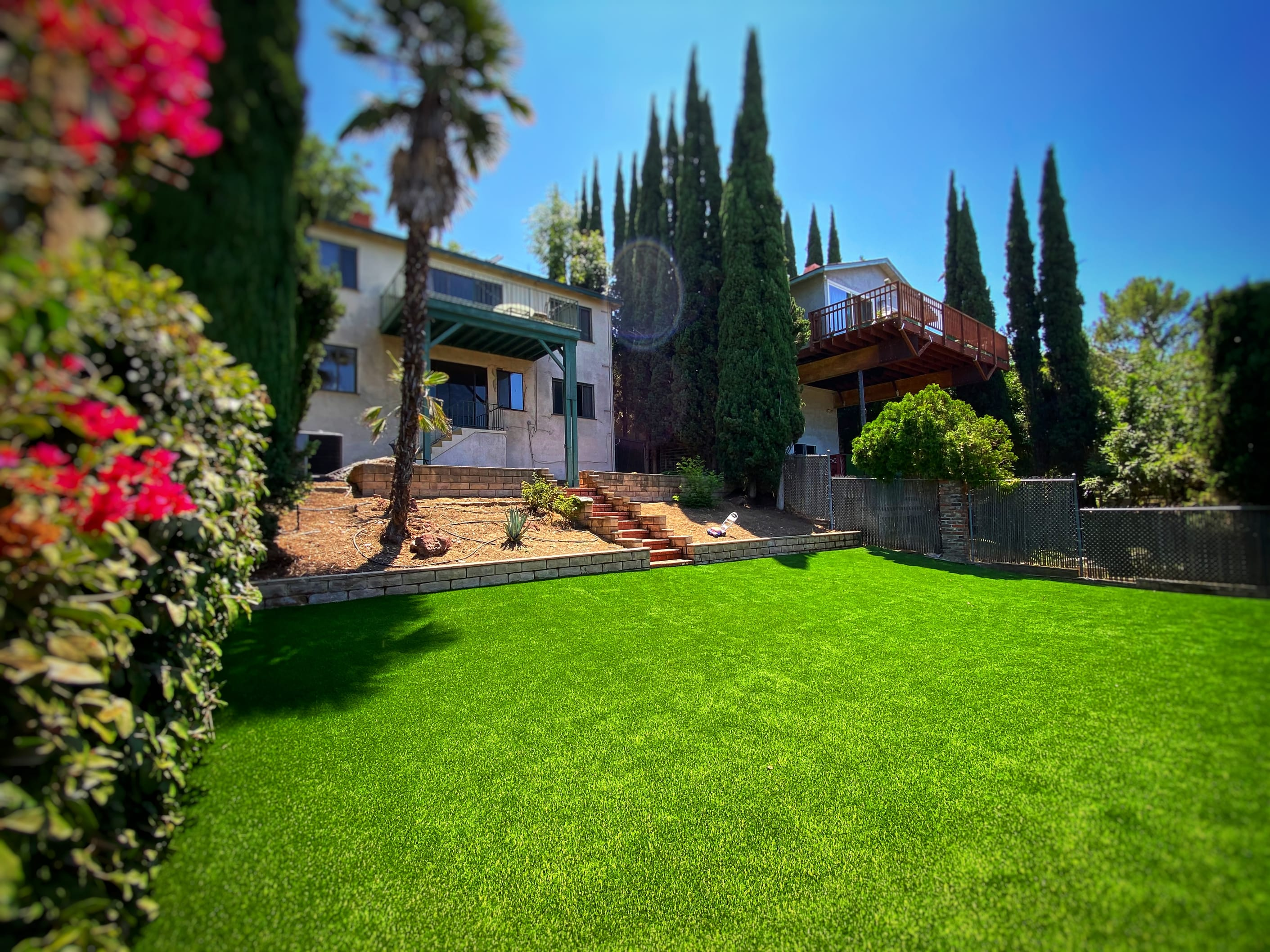 fake turf installed at residential property