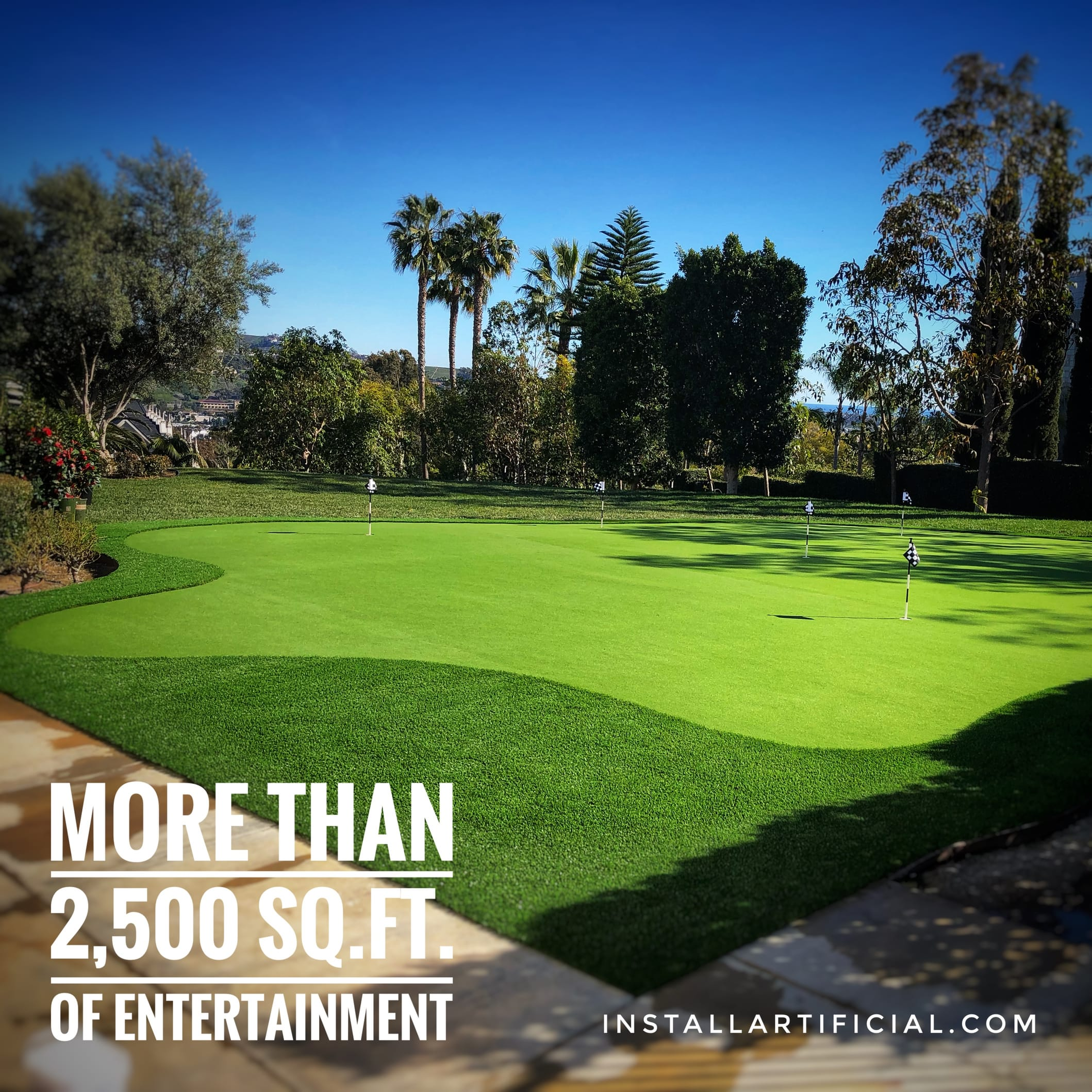large putting green filed with artificial grass