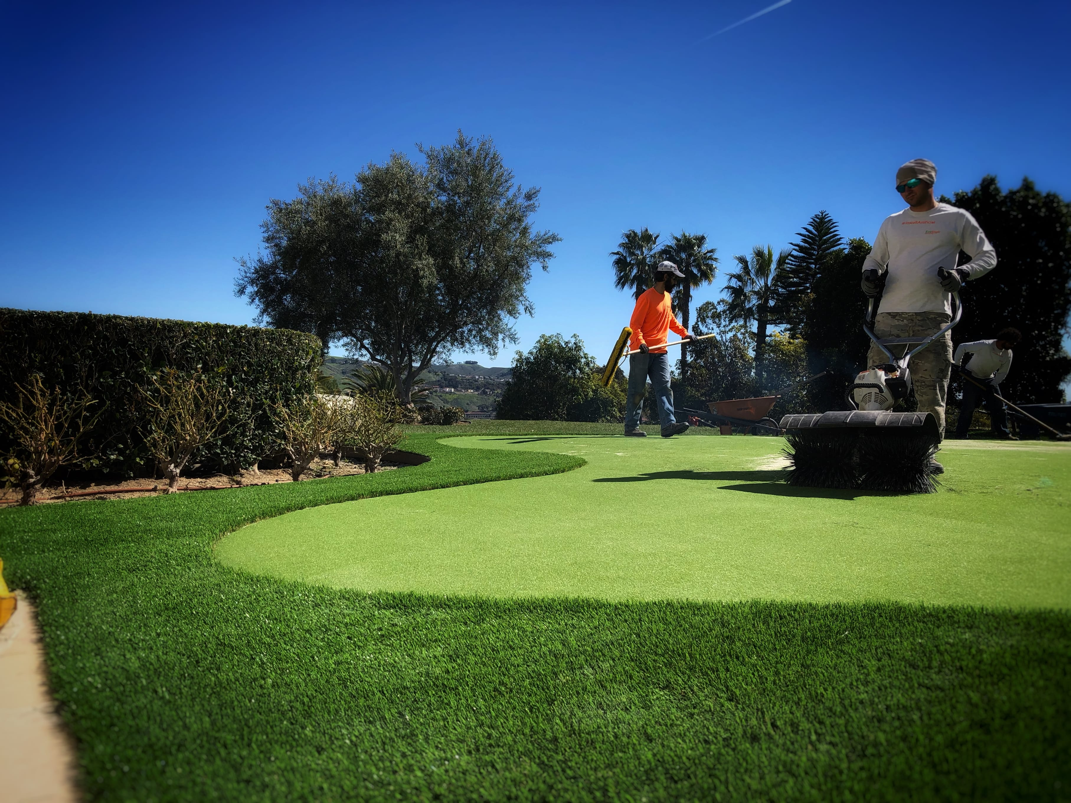 putting green installation in process