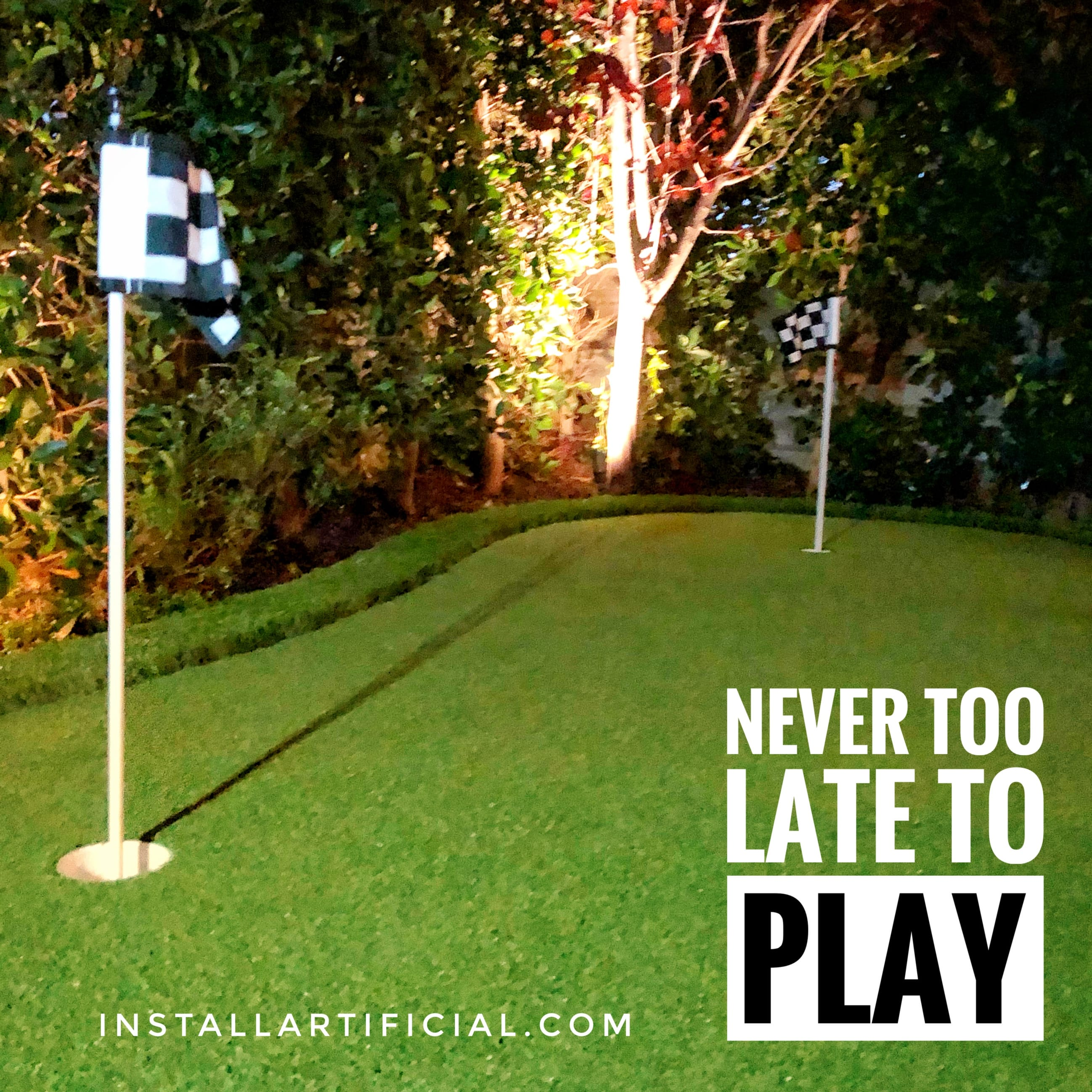small putting green night time