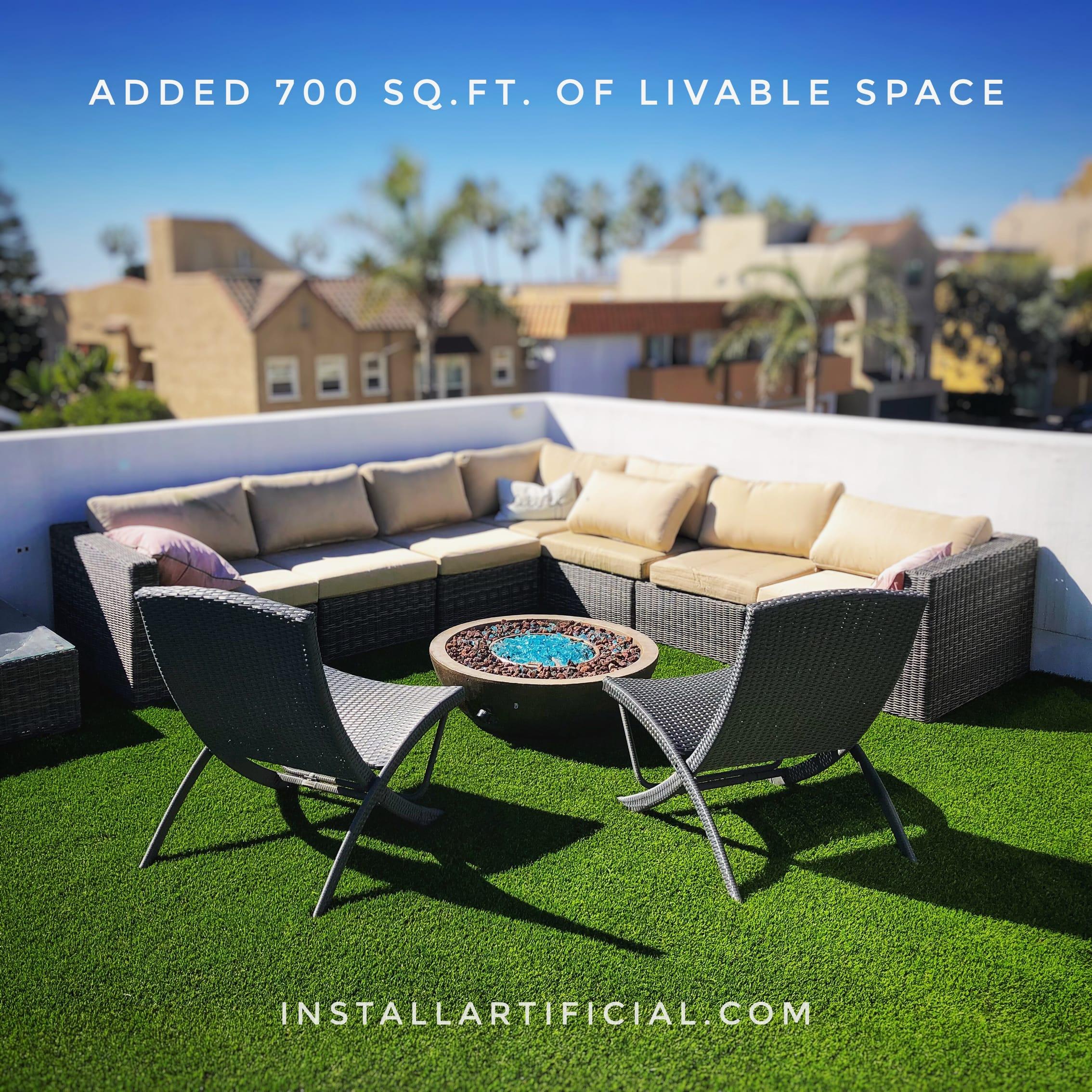 rooftop artificial grass installation