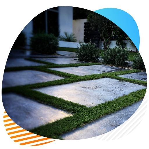 stripes artificial grass installation